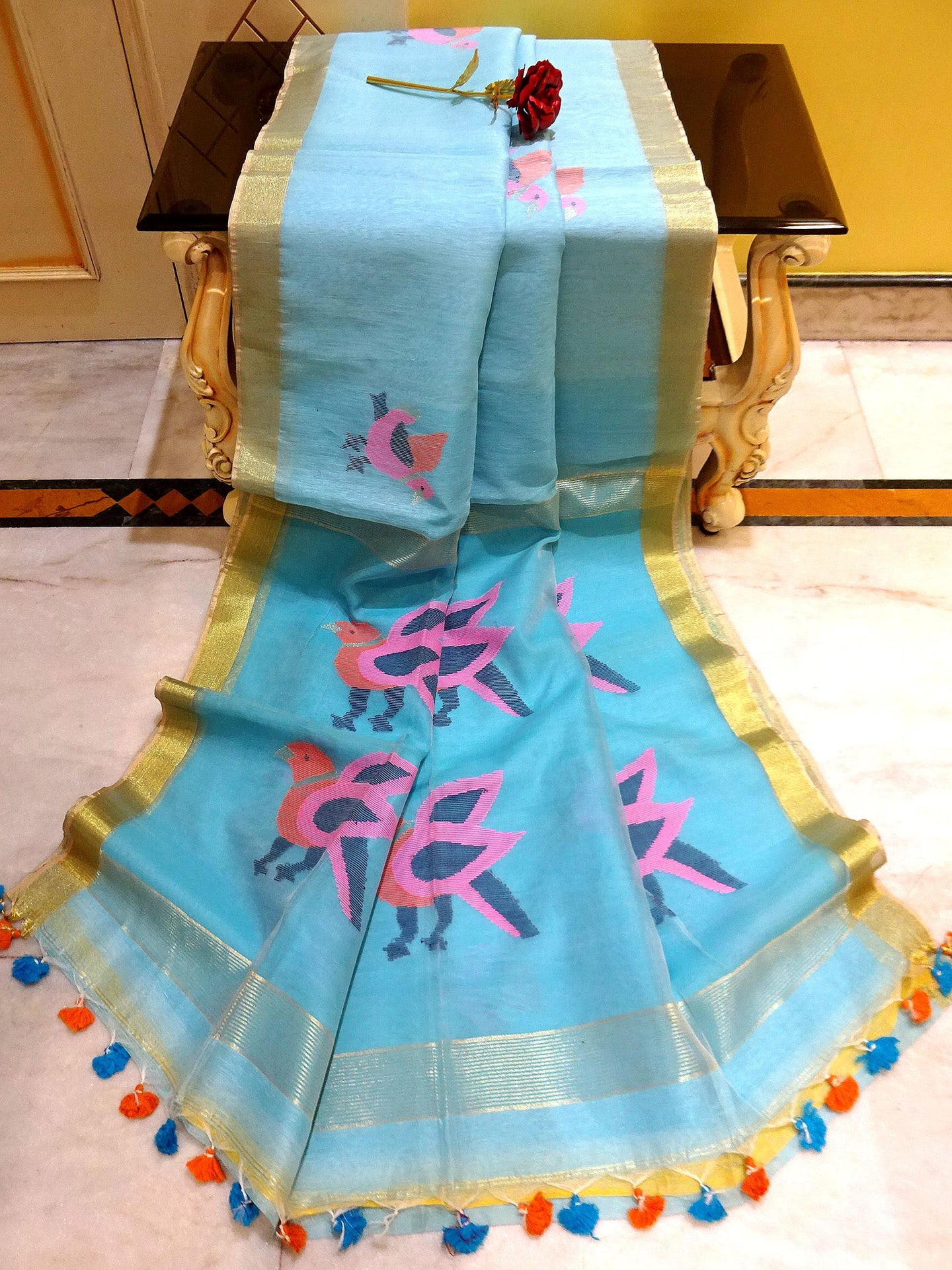 Silk Linen Jamdani Saree in Blue, Pink and Gold from Bengal Looms India