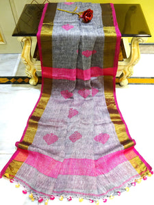 Pure Handloom Linen Saree in Grey, Pink and Gold from Bengal Looms India