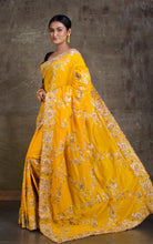 Gold Gota Work Silk Zardosi in Canary Yellow and Antique Gold