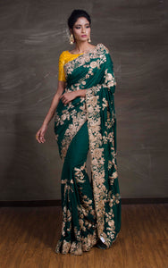 Gold Gota Work Silk Zardosi in Hunter Green and Antique Gold from Bengal Looms India