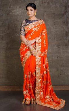Gold Gota Work Silk Zardosi in Orange and Antique Gold