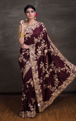 Gold Gota Work Silk Zardosi in Dark Maroon and Antique Gold