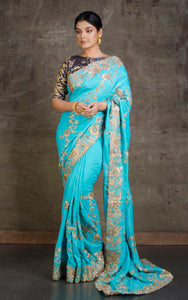 Gold Gota Work Silk Zardosi in Arctic Blue and Antique Gold