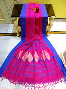 Kotki Checks Khadi Soft Cotton Saree in Hot Pink and Blue - Bengal Looms India