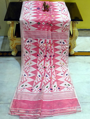 Soft Dhakai Jamdani Saree in Peach Pink and Multicolored Thread Work