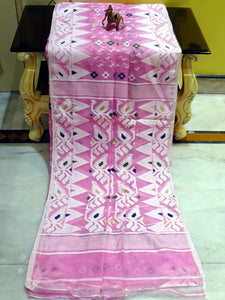 Soft Dhakai Jamdani Saree in Baby Pink and Multicolored Thread Work