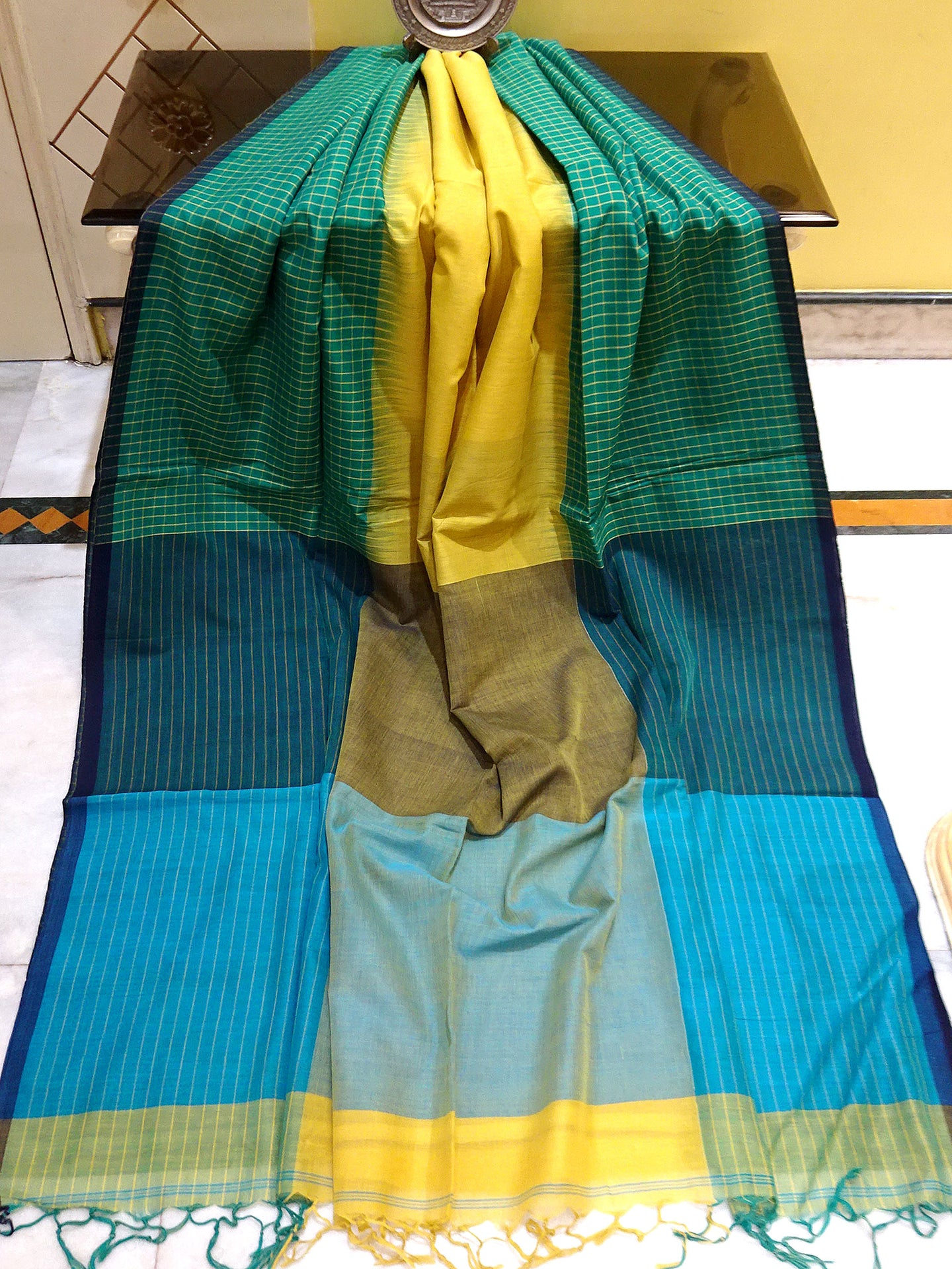 Khadi Soft Cotton Saree in Pineapple Yellow and Shamrock Green - Bengal Looms India