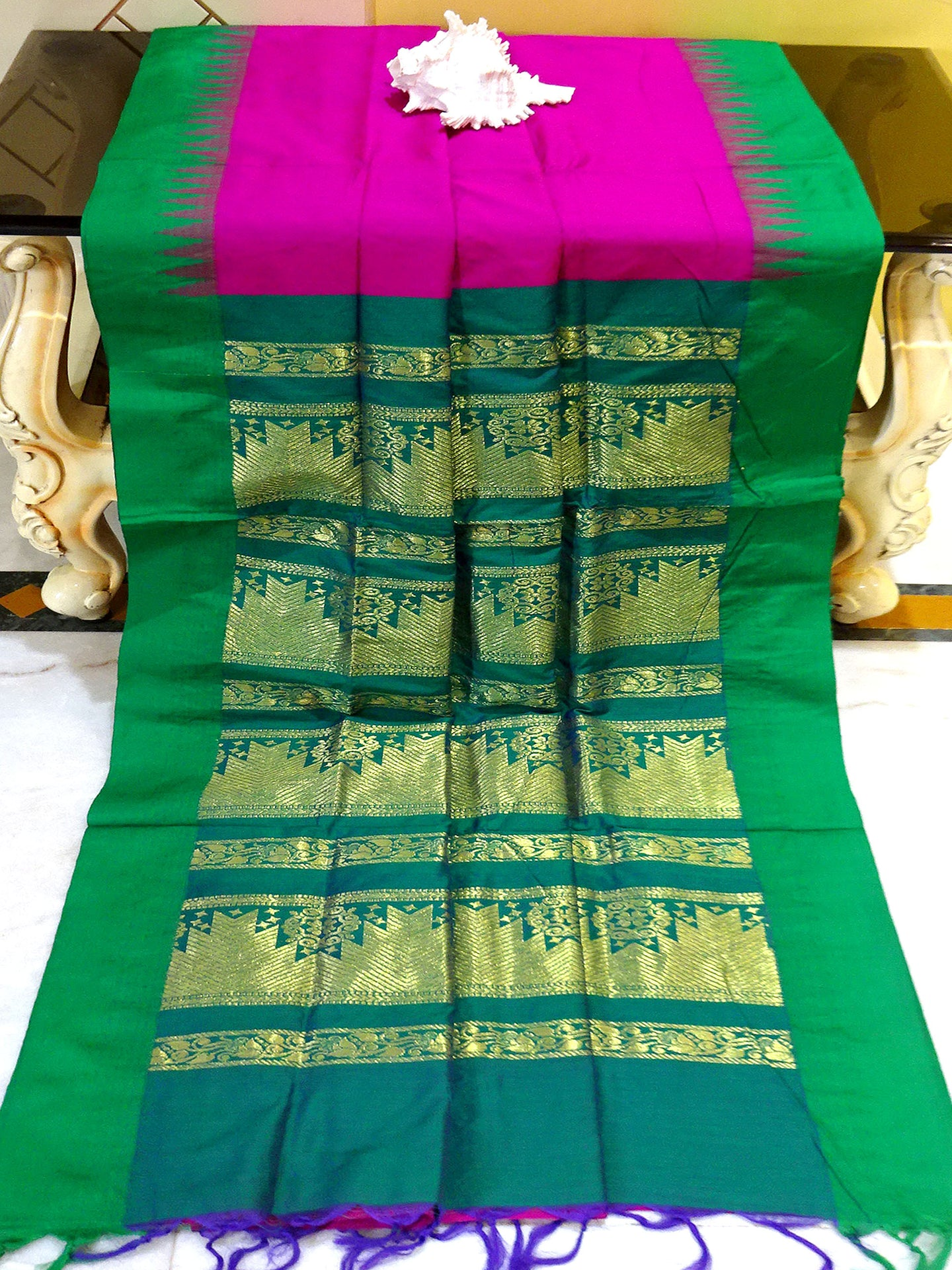 Soft South Cotton Temple Border Gadwal with Rich Pallu in Magenta and Green from Bengal Looms India