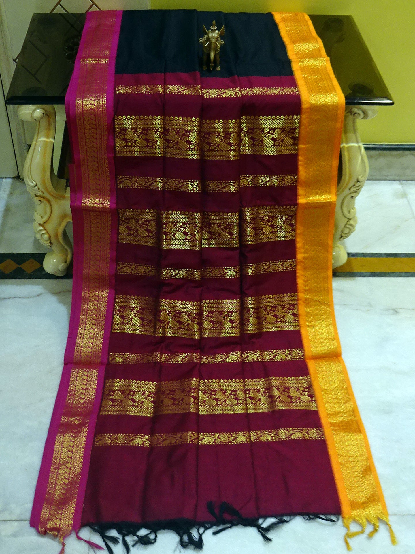 Banarasi Border Soft South Cotton Gadwal with Rich Pallu in Black and Maroon