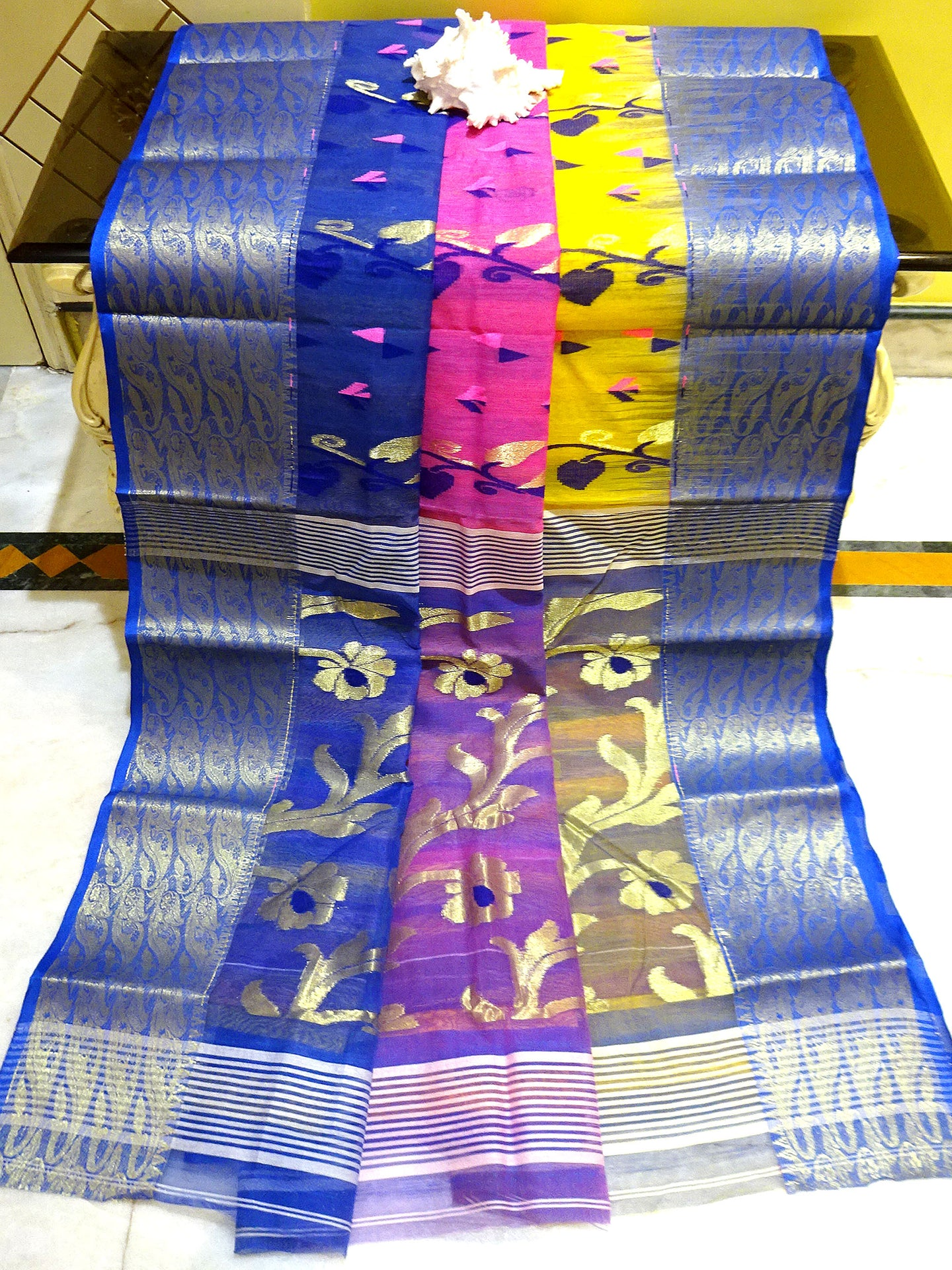 Bengal Handloom Tant Tussar Silk Saree in Royal Blue, Yellow and Pink from Bengal Looms India