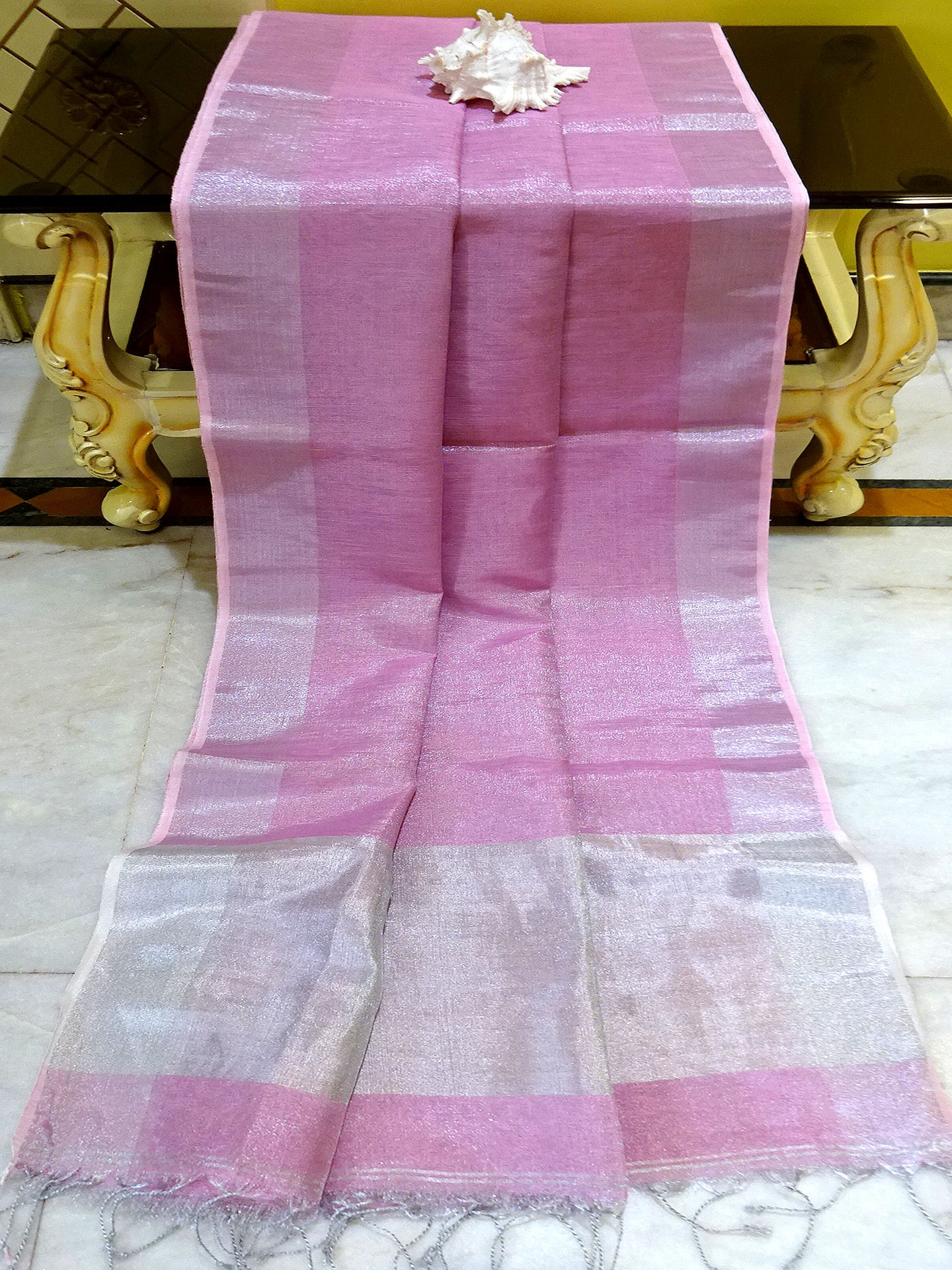 Tissue Linen Saree in Pastel Pink - Bengal Looms India