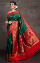 Tilfi Minakari Work Tussar Banarasi Saree in Dark Green and Red