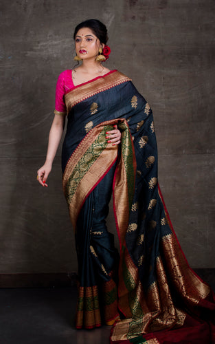 Meenakari Border Dupion Tussar Banarasi Saree in Slate Grey and Red
