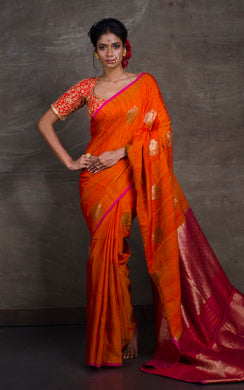 Tussar Banarasi Designer Poth Saree in Fire Orange and Hot Pink