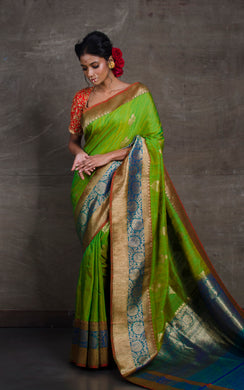 Meenakari Border Dupion Tussar Banarasi Saree in Green and Blue