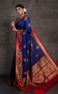 Tilfi Minakari Work Tussar Banarasi Saree in Dark Blue and Red