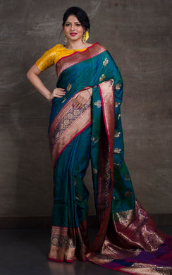 Meenakari Border Dupion Tussar Banarasi Saree in Peacock Green, Dark Blue and Red