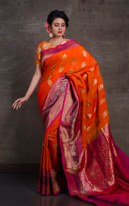 Meenakari Border Dupion Tussar Banarasi Saree in Orange and Hot Pink
