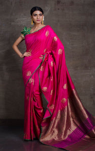 Tussar Banarasi Designer Poth Saree in Hot Pink and Basil Green