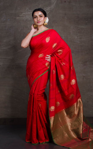 Tussar Banarasi Designer Poth Saree in Red and Green