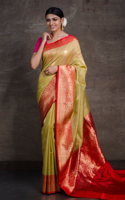 Tussar Banarasi Saree in Biscotti and Red