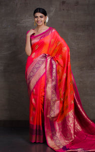Meenakari Border Dupion Tussar Banarasi Saree in Peach And Magenta