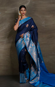 Tussar Banarasi Saree in Midnight Blue and Azure from Bengal Looms India