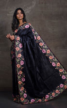 Premium Quality Tussar Silk Embroidery Saree in Black and Pastel Multicolored Thread Work