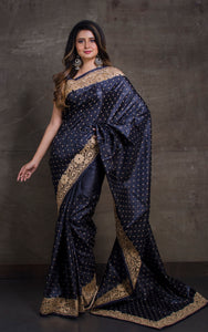 Exclusive Tussar Silk Embroidery Saree with Cut Work Border in Black and Matte Gold