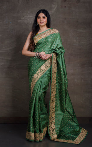 Exclusive Tussar Silk Embroidery Saree with Cut Work Border in Deep Moss Green and Matte Gold