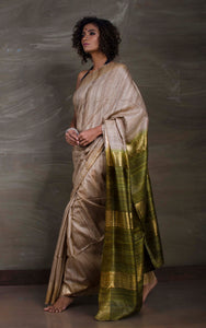 Pure Handloom Gicha Tussar Saree in Natural Colour and Moss Green
