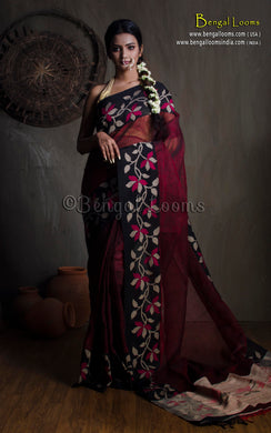 Premium Quality Linen Jamdani Saree in Maroon and Black from Bengal Looms India