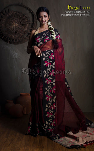 Premium Quality Linen Jamdani Saree in Maroon and Black