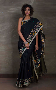 Matka Tussar Saree with Jamdani Border in Black and Beige from Bengal Looms India