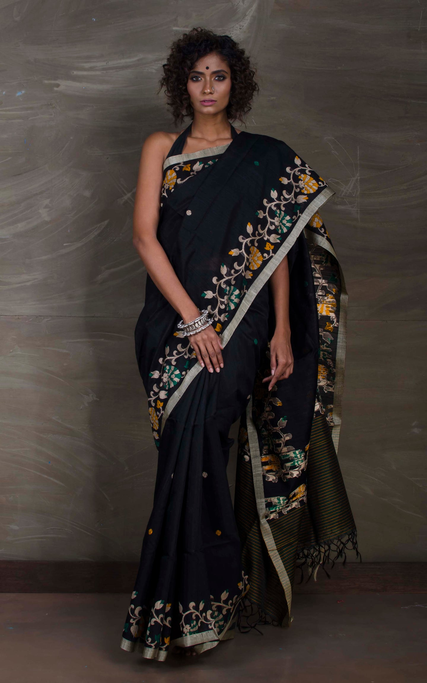Matka Tussar Saree with Jamdani Border in Black and Beige - Bengal Looms India