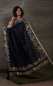 Premium Quality Matka Tussar Saree with Jamdani Border in Black and Multicolored Thread Work from Bengal Looms India
