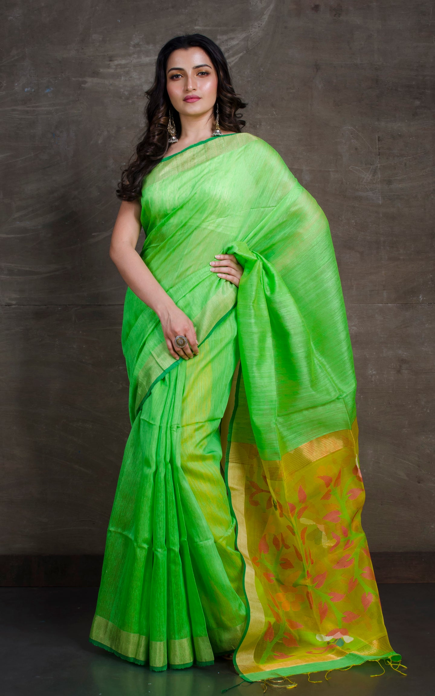 Pure Matka Tussar Silk Jamdani Saree in Light Green and Yellow