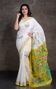 Premium Quality Tussar Silk Jamdani Saree in White, Yellow and Multicolored Thread Work