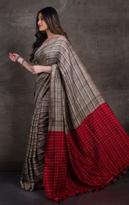 Soft Ketia Tussar Silk Saree in Beige, Black and Dark Red