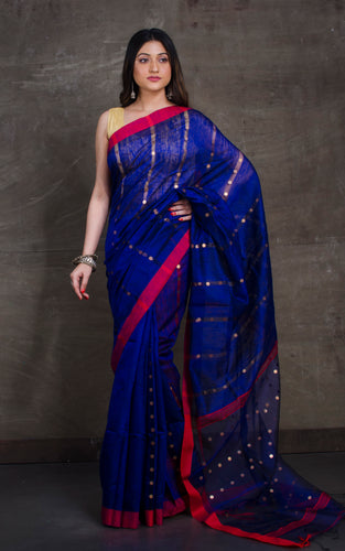 Designer Pure Matka Tussar Silk Saree in Navy Blue and Red