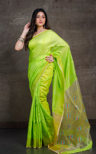 Pure Matka Tussar Silk Jamdani Saree in Banana Leaf Green and Yellow