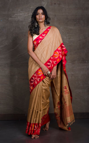 Premium Quality Kadiyal Work Matka Tussar Saree in Natural Light Brown and Multicolored Thread Work
