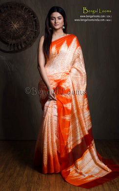 Pure Handloom Matka Shibori Saree in Beige & Orange