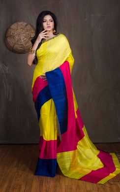 Matka Tussar Saree with Skirt Border in Yellow, Blue and Magenta - Bengal Looms India