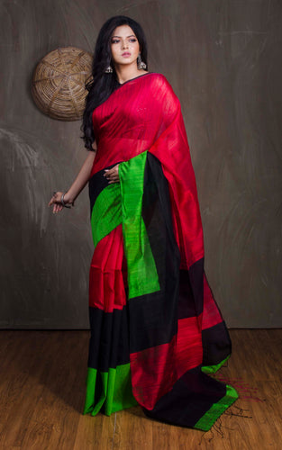 Matka Tussar Saree with Skirt Border in Red, Black and Green - Bengal Looms India