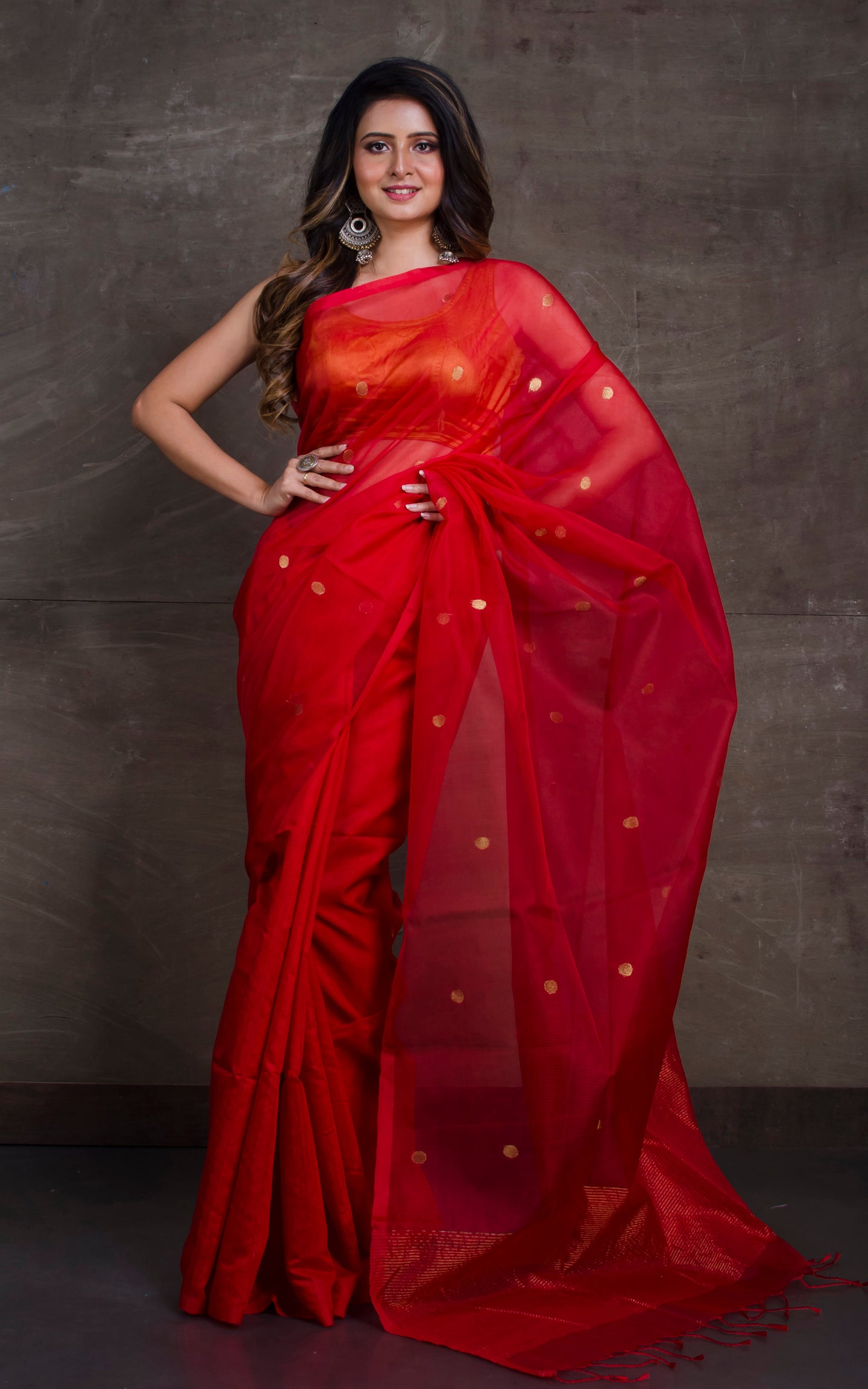Half Tussar Silk and Half Muslin Saree in Crimson Red and Gold