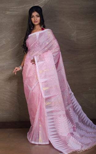 Handloom Tussar Silk Jamdani Saree in Baby Pink, White and Gold