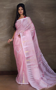 Handloom Tussar Silk Jamdani in Baby Pink, White and Gold from Bengal Looms India