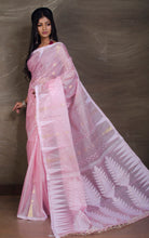 Handloom Tussar Silk Jamdani Saree in Baby Pink, White and Gold - Bengal Looms India