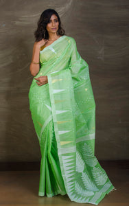Handloom Tussar Silk Jamdani in Mint Green, White and Gold from Bengal Looms India